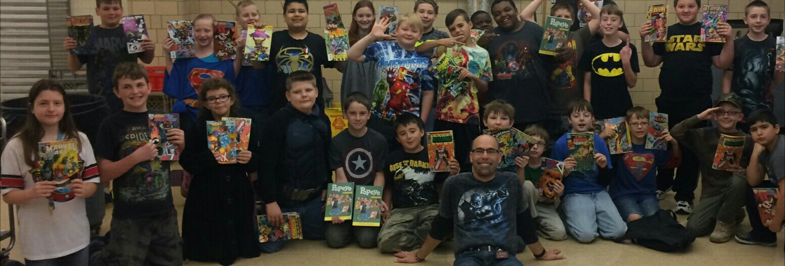 Eric Hofstetter's Super Hero Comic Book T-Shirt Thursday at Esther Dennis Middle School 4th, 5th, and 6th graders with Comics4kids comics!!
