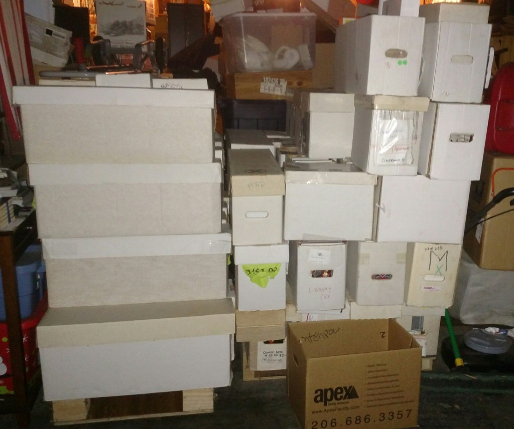 40 long boxes donated by COMICS DUNGEON Seattle!! THANK YOU SO MUCH!! oct 2015