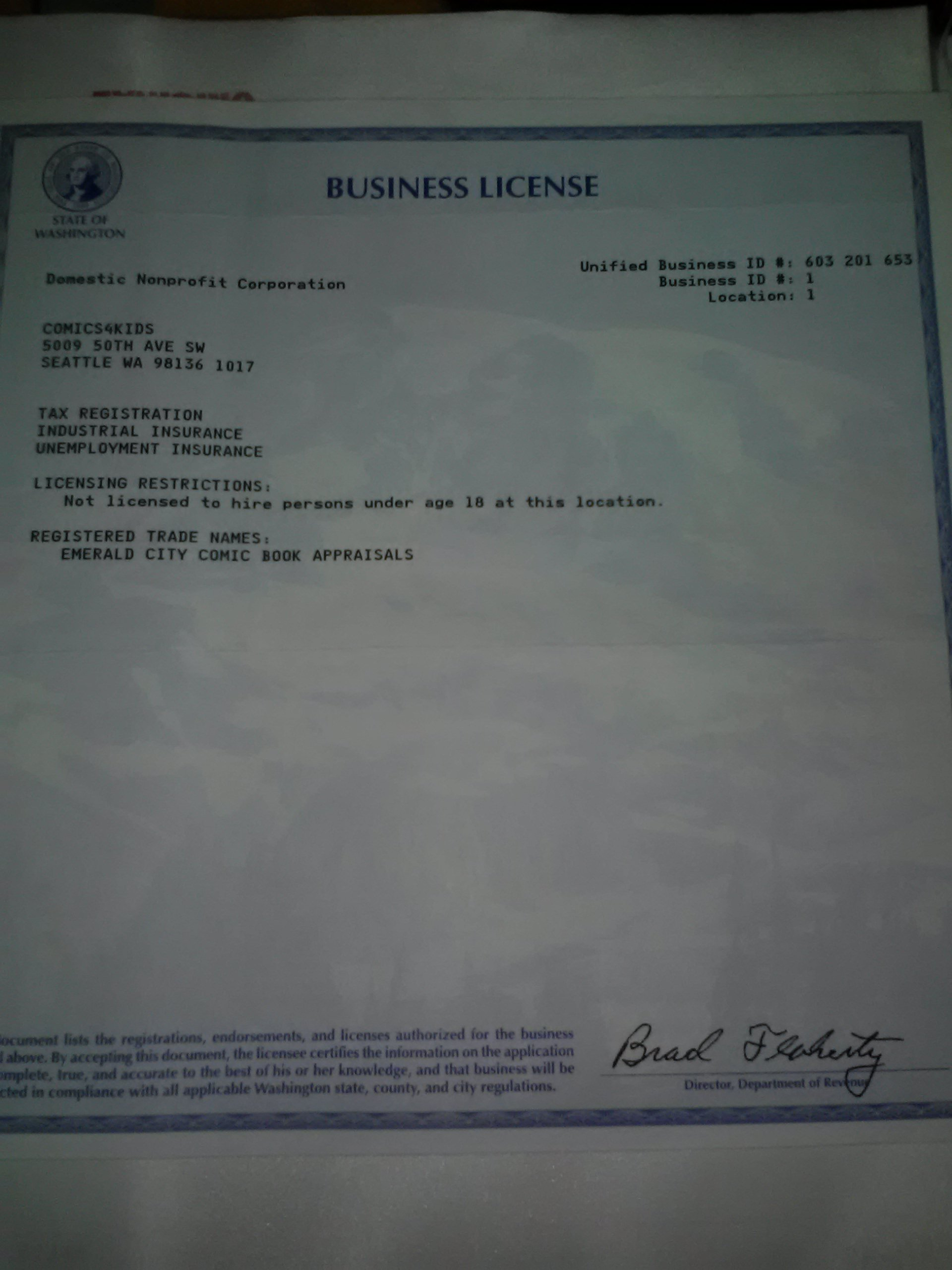 Business License STATE of WA