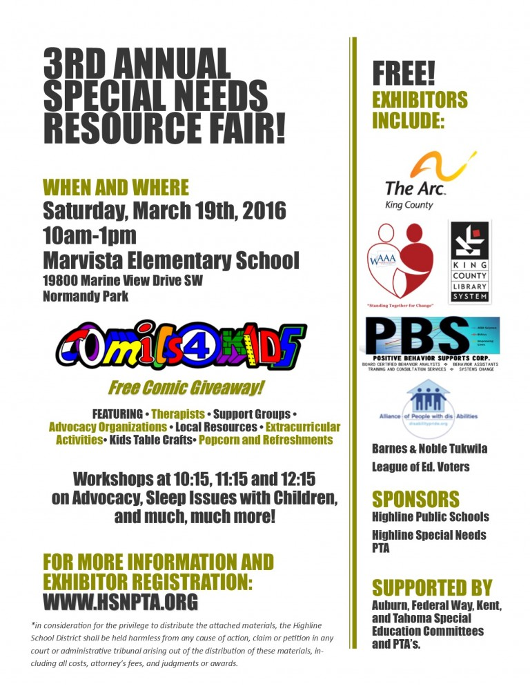 HSNPTA 3rd Annual Resource Fair will take place on Saturday, March 19th, from 10 a.m. to 1 p.m. at Marvista Elementary School, 19800 Marine View Dr. SW, Normandy Park. Comics4Kids INC will be there presenting free comics to the kids!!